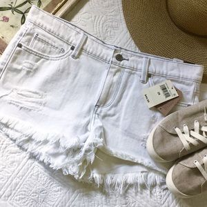 NWT Lucky Brand The Cut Off short white